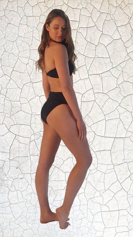 Simone Bandeau Bikini Top - Black Peppermint Pebbles Swim