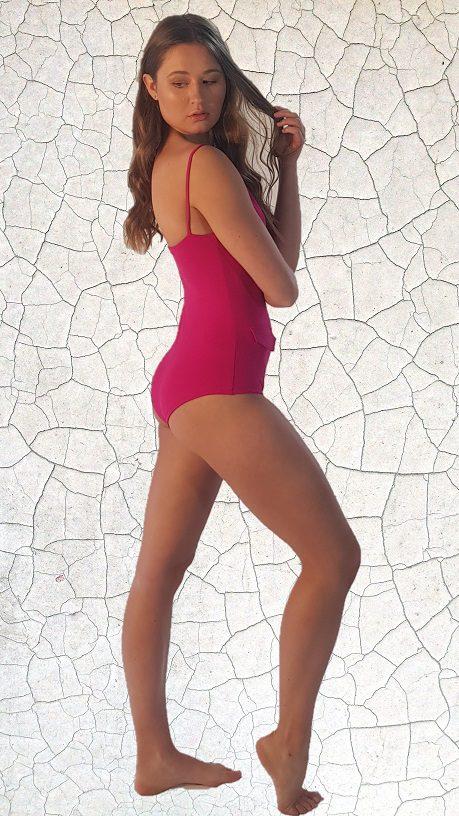 Loren 70'S One Piece Bathers - Magenta Peppermint Pebbles Swim