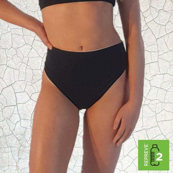 Birkin High Waist Bikini Bottom - Black Peppermint Pebbles Swim