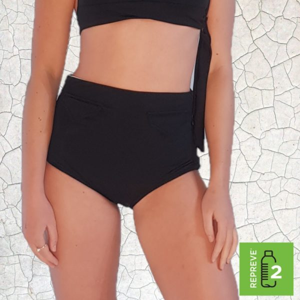 Raquel High Waist Bikini Bottom - Black Peppermint Pebbles Swim