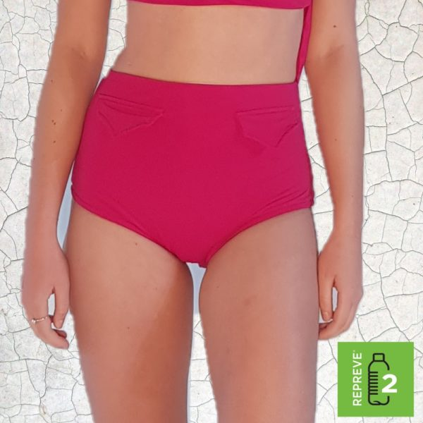 Raquel High Waist Bikini Bottom - Magenta Peppermint Pebbles Swim