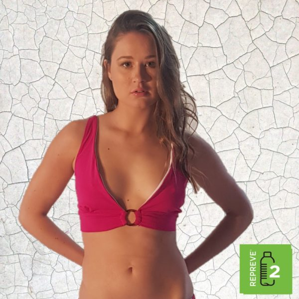 Elik Tie Back Bikini Top - Magenta Peppermint Pebbles Swim