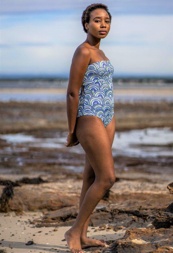 Bandeau Convertible Swimsuit- Shells Peppermint Pebbles Swim