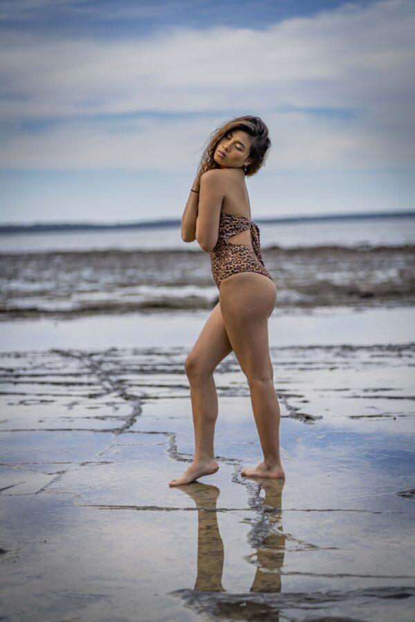 Bandeau Convertible Swimsuit- Leopards Peppermint Pebbles Swim
