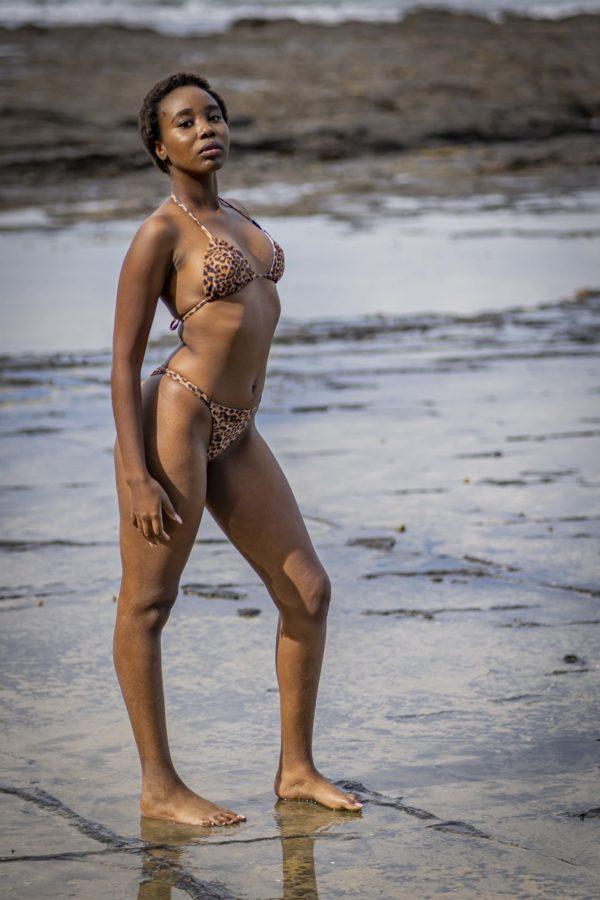 Triangle Bikini Top - Leopard Peppermint Pebbles Swim