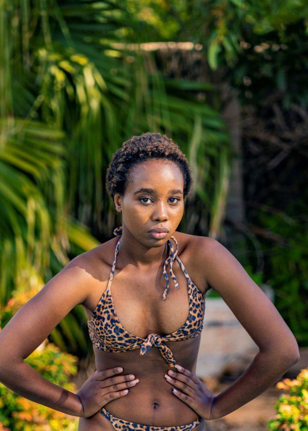 Zena Tie Front Bikini Top - Leopard Peppermint Pebbles Swim