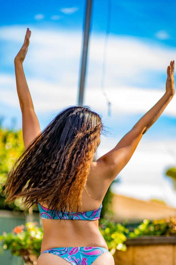 Zena Tie Front Bikini Top - Happy Ocean Peppermint Pebbles Swim