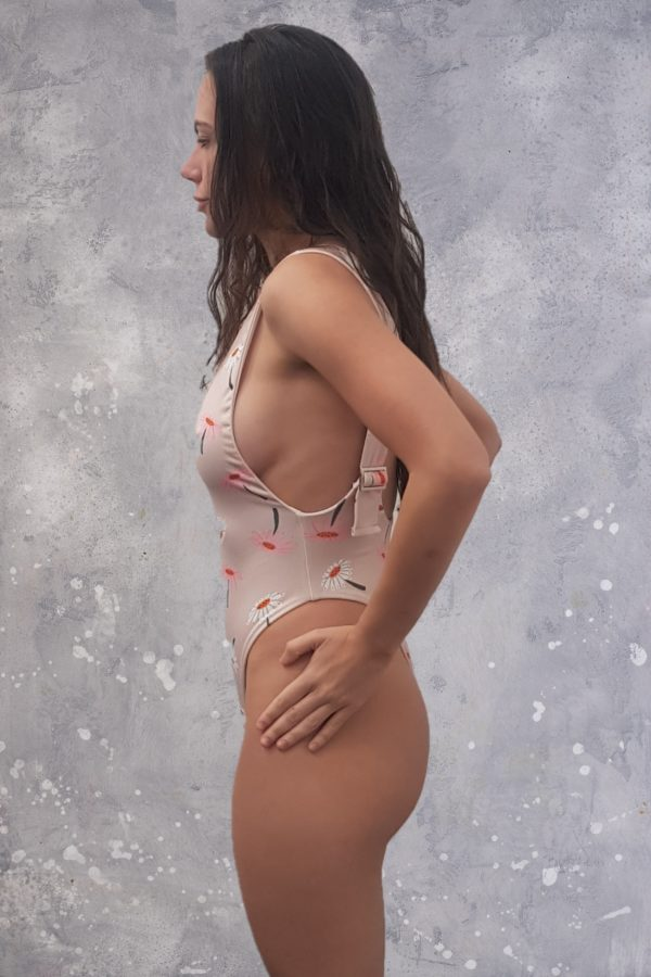 Buckled Strap One Piece Swimsuit - Daisies Peppermint Pebbles Swim