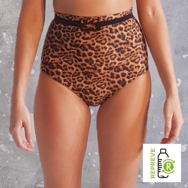 High Waist Bikini Bottom - Leopard Peppermint Pebbles Swim