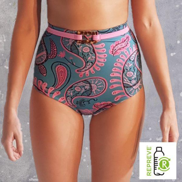 High Waist Bikini Bottom - Happy Ocean Peppermint Pebbles Swim