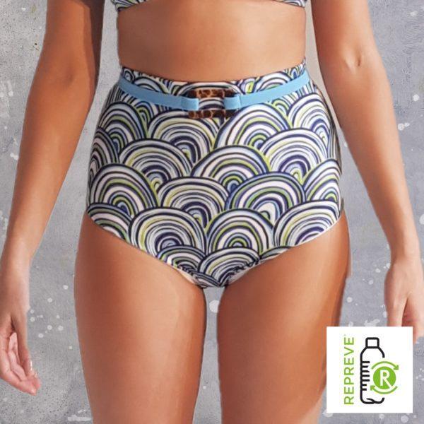 High Waist Bikini Bottom - Shells Peppermint Pebbles Swim